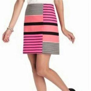 LOFT Womens Color Block Striped Print Skirt 6